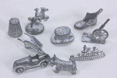 Nine (9) Monopoly Metal Game Pieces Tokens Scottie, Thimble, Top Hat, Shoe, More