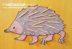 Echidna craft, with a head that hides when he's scared! From Cat Tenné Designs Crafts Blog