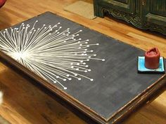 Imagining this as a cool piece of wall art...  DIY coffee table... love the simle, lovely, dandelion.