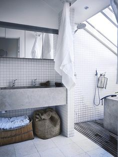 Curbless shower but slats could be a problem!  Beautiful design regardless.