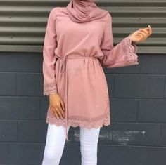 Pinky Freizeitkleidung für Frauen - Just Trendy Girls - hijab style chic - Mode Street Hijab Fashion, Muslim Fashion, Modest Fashion, Fashion Outfits, Emo Fashion, Casual Hijab Outfit, Hijab Chic, Casual Outfits, Women's Casual