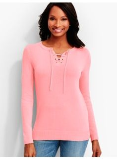 Laced-Neck Sweater