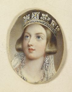 Queen Victoria wearing the diadem, Queen Charlotte's earrings and a diamond necklace on her wedding day. circa 1840.