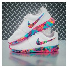Shoes: rose roshe runs colorful multicolor white nike nike nike... ❤ liked on Polyvore featuring shoes, nike footwear, multi color shoes, colorful shoes, neon shoes and nike