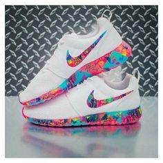 Shoes: rose roshe runs colorful multicolor white nike nike nike... ❤ liked on…