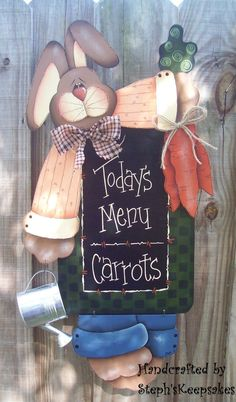 A Bunny's Menu hanger Easter Art, Easter Crafts, Crafts For Kids, Cute Paintings, Country Paintings, Pintura Country, Country Crafts, Country Art, Tole Painting Patterns