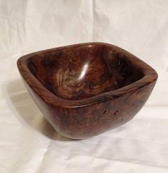 Hand carved Claro Walnut burl bowl by Zeke Wilhite