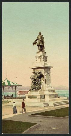 Statue de Samuel de Champlain, Québec 1901 Samuel De Champlain, Le Petit Champlain, Quebec Montreal, Quebec City, Chute Montmorency, Chateau Frontenac, Canada 150, Canadian History, Belle Villa