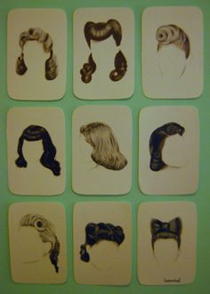 Vintage hair inspiration. You can buy this set of sketches for $35.