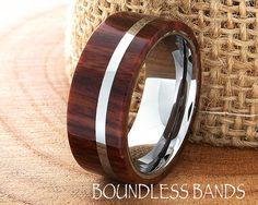 Hawaiian Koa Wood Tungsten Wedding Ring Flat by BoundlessBands