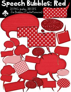 Speech Bubbles: RED clipart frames.  Perfect for classroom teachers, TpT sellers, and scrapbookers!  Commercial use is ok.  TeacherKarma.com