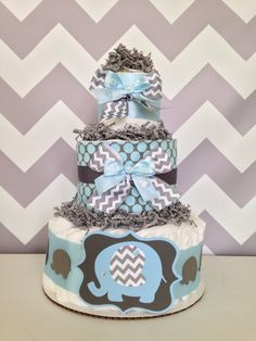 Chevron Elephant Diaper Cake, Blue And Gray Baby Shower Centerpiece On  Etsy, $45.00