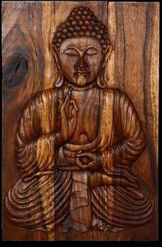 Buddha wall decor carved wood seated