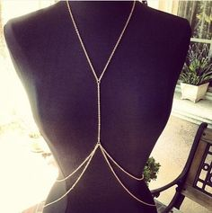 Gold Body Chain Harness  Necklace Belly Jewelry