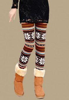 Leisure Chic Eye-catching Maple Print Leggings