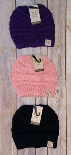 043e71f5434d8f Kid's CC Beanie's *CLEARANCE* $5.99 each Purple Ribbon, Black Ribbon, Cc  Beanie