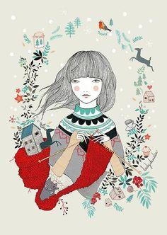 knitting illustration / lady desidia