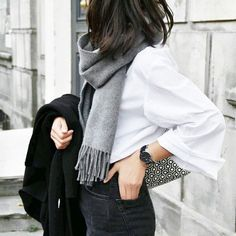 monochrome fashion, white shirt, faded black jeans, pattern bag, black coat, gray scarf