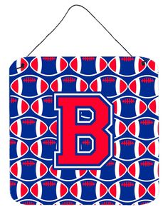 Letter B Football Harvard Crimson and Yale Blue Wall or Door Hanging Prints CJ1076-BDS66