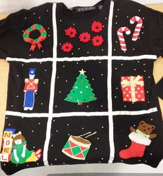 Chaus Sport Ugly Christmas Top Women M Tree Wreath Candy Cane Noel Stocking Doll #Chaus #Pullover #Holiday