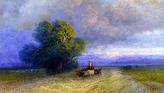 Ox Cart Crossing a Flooded Plain: 1897  Ivan Aivazovsky