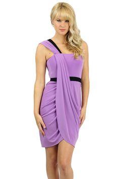 022ff679acc8e BCBGMAXAZRIA Purple Violet Stretch Mila Draped One Shoulder Dress  Mid-weight stretch blend knit.