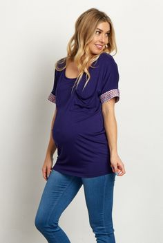 Navy Blue Tribal Embroidered Sleeve Maternity Top