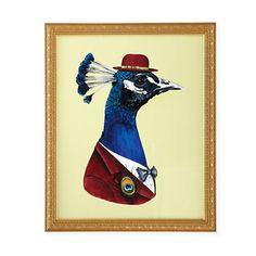 #boden  #magicalmenagerie  Kids Art Prints: Berkley Illustration Peacock in a Suit in Animal Wall Art