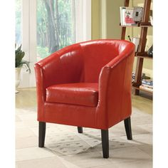 Oh! Home Andrew Barrel Club Chair Hot Red Upholstery