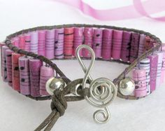 Paper Bead Bracelet for Music Lovers by PurpleDotBoutique on Etsy, $25.00