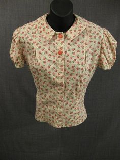Costumes/Childrens/Girl's/09005848 Blouse Child's 1930s, cream red floral calico, Girl's Large