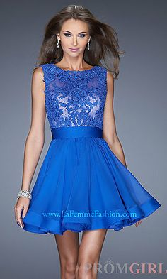 Short High Neck La Femme Prom Dress at PromGirl.com