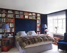 This book lover's bedroom is all about elegance.