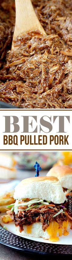 """EASY slow cooker tender, tangy sweet, smokey, BBQ Pulled Pork perfect for large gatherings, busy weekdays or whenever you are craving the """"Best"""" BBQ pulled pork!"""