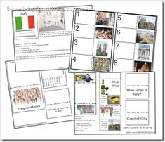 for my continent boxes: 6 Country Lapbooks ~ Free Printables Science Activities For Kids, Teaching Activities, Fun Learning, Italy For Kids, Italy Country, Italian Lessons, World Thinking Day, My Father's World, Learning Italian
