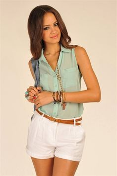 Rainbow Pocket Top - Mint