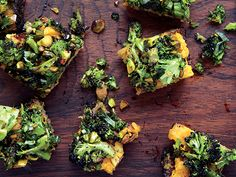 Spiced Sweet Potato and Roasted Broccoli Toasts / William Abranowicz Broccoli Recipes, Vegetable Recipes, Vegetarian Recipes, Healthy Recipes, Yam Recipes, Salad Recipes, Recipes Appetizers And Snacks, Meat Appetizers, Baby Food Recipes