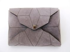 geometric leather cardholder lasercut stonegrey by StAnderswo, €39.00