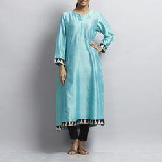 Blue Side Kali Long Chanderi Kurta with Triangle Motif Border Kurta Designs Women, Triangle, Suits, Casual, Clothing, Blue, Dresses, Style, Fashion