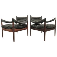 ::: Kristian Vedel Mid-Century Rosewood and Leather Chairs