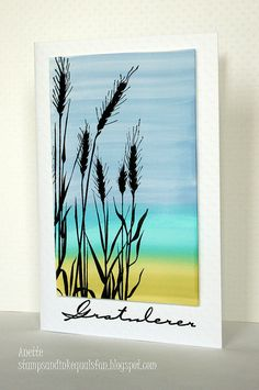 handmade card from stamps+ink=fun: Summer Breeze .watercolor wash background with landscape bands of color . wheat silhouted stamped in black . Watercolor Cards, Watercolor Flowers, Watercolor Paintings, Watercolor Bookmarks, Watercolour, Small Canvas Art, Pastel Art, Sympathy Cards, Art Drawings