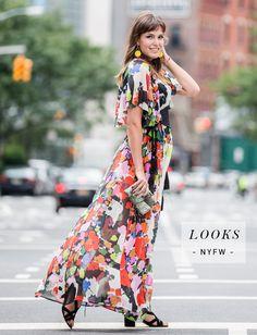 Look Bia Perotti - NYFW: vestido Apartamento 03, sandálias Arezzo, clutch Isla, brincos Isabella Blanco