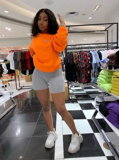Dope outfits Neon Orange Reflective OG Print Sweatshirt – Only The Fresh Survive Bra Sizes Bra Sizes Cute Swag Outfits, Cute Comfy Outfits, Chill Outfits, Short Outfits, Black Girls Outfits, Summer Outfits, Summer Shorts, Trendy Outfits, Orange Outfits