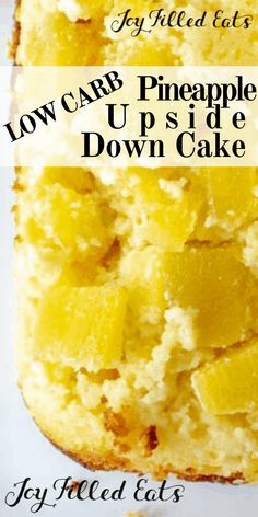 3 Net Carbs Pineapple Upside Down Cake? This tender yellow cake has a sweet pineapple topping and only 3 net carbs per piece! It's easy to make a healthy sugar-free pineapple upside down cake from scratch at home. Low Carb Sweets, Low Carb Desserts, Healthy Desserts, Low Carb Recipes, Healthy Food, Pineapple Recipes Healthy, Diabetic Desserts, Vegan Sweets, Keto Snacks