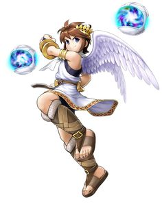 View an image titled 'Pit & Orbitars Art' in our Kid Icarus: Uprising art gallery featuring official character designs, concept art, and promo pictures. Nintendo Characters, Video Game Characters, Kid Icarus Uprising, Super Smash Bros Brawl, Anime, Fire Emblem, Cute Boys, Game Art, Character Art