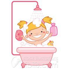 Happy baby girl having bath at a bath tub. Cartoov vector Royalty free Illustration at http://tibilis.com/site/stock?q=bath+tub