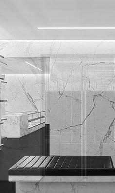 Saint Laurent store architecture by Hedi Slimane _ Classical Architecture, Interior Architecture, Interior Design, Marble Wall, Marble Floor, Saint Laurent Store, Classic Building, Retail Windows, Retail Store Design