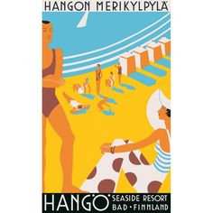 Hanko (Finland) seaside resort vintage travel poster from Poster Ads, Poster Prints, Vintage Advertisements, Vintage Ads, Beach Posters, Travel Ads, Art Abstrait, Old Ads, Retro Art