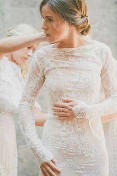 nude underlay lace long sleeve wedding dress - brides of adelaide
