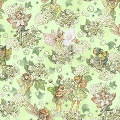 Michael Miller Garden Fairies by Cecily Mary Barker DM4221 Apple Morning Fairy Garden $9.99/yd